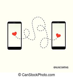 online dating app concept with two hearts