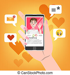 Hand holding mobile phone with male person on the screen