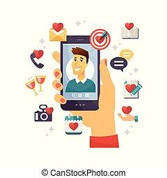 Online dating app - modern vector colorful illustration