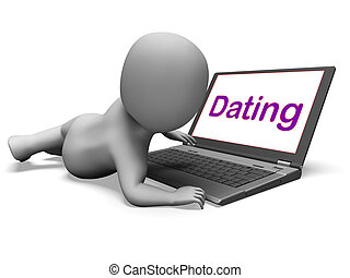 Online Dating Character Laptop Shows Romance And Web Love