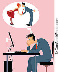 Online dating - Man sitting at the computer, dreaming of...