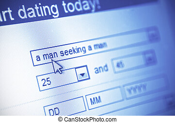 online dating - close-up of dating web page on computer...