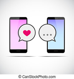 online dating communication pink and blue smartphone
