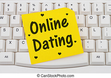 Online Dating, computer keyboard and sticky note - Online...
