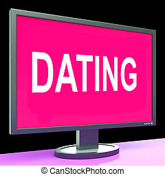 Online Dating Computer Shows Romance Date And Web Love