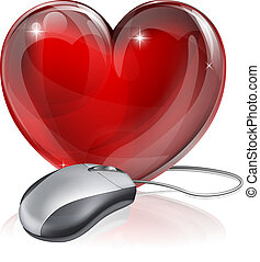 Illustration of a computer mouse connected to a red heart symbol, concept for online dating, romance or similar
