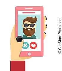 Online dating love app concept.