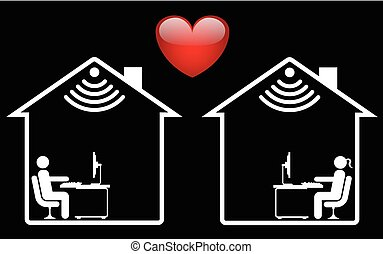 Representation of online dating isolated on black background