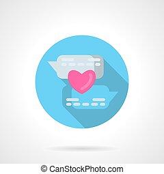 Online declaration of love round vector icon