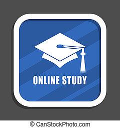 Online degree blue flat design square web icon