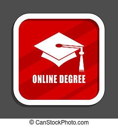 Online degree icon. Flat design square internet banner.