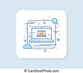 Online delivery line icon. Parcel tracking sign. Vector - ...