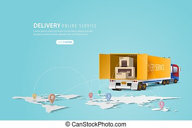 Online delivery service concept, online order tracking, Delivery home and office. City logistics and Warehouse on mobile. Location with yellow delivery truck on map. Banner background. vector illustration