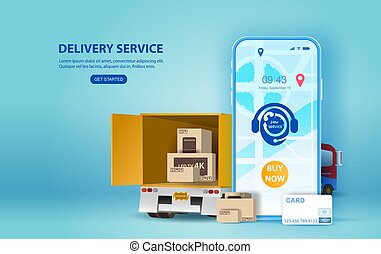 Online delivery service concept, online order tracking, Smartphone Delivery home and office. City logistics and Warehouse on mobile. Location app mobile phone with yellow delivery truck, map on screen
