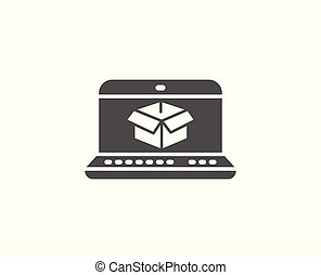 Online delivery simple icon. Parcel tracking sign. Logistics...