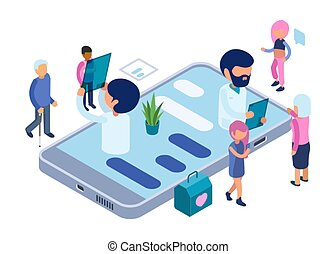 Online diagnosis. Healthcare vector concept. Isometric doctors and patients. Online medical diagnostic app illustration. Medical isometric diagnosis online