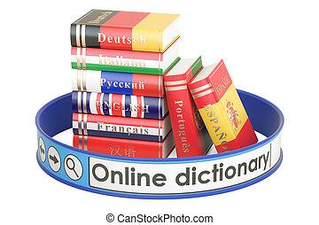 Online Dictionary concept, 3D rendering