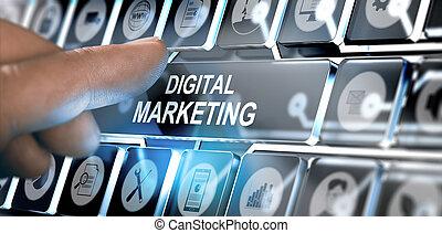 online, digitális, marketing, kampány, fogalom