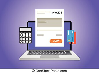 online digital invoice using computer calculator and credit...
