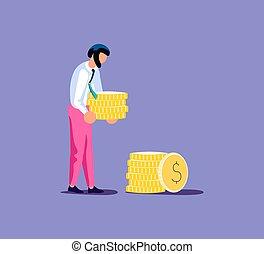 online, dinheiro, salário, conceito