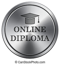 Online diploma icon. Round icon imitating metal.