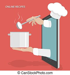 Online dishes recipes vector concept.