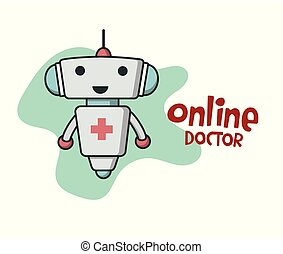 Online doctor bot icon. Healthcare service chatbot icon....