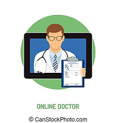 online doctor concept - Medical concept with flat icons...