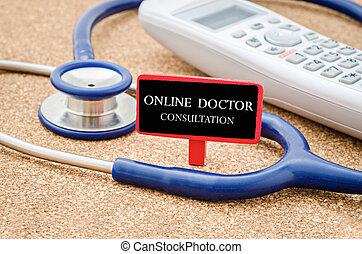 Online doctor consultation concept.
