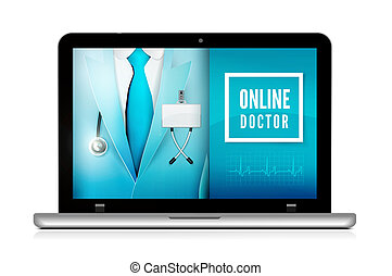 Online doctor consultation technology in laptop. Medical ...