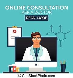 Online doctor. Online consultation. Ask doctor. Medical illustration.