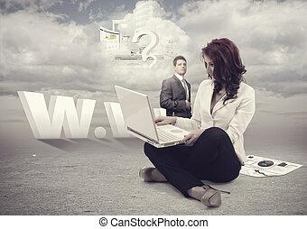online, dolgozó