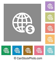 Online dollar payment square flat icons