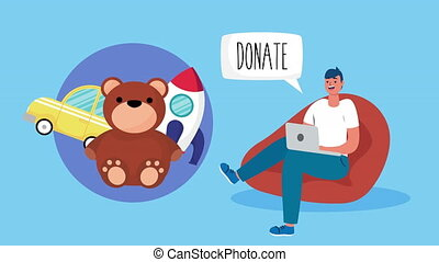 online donation campaign for covid19 with man using laptop