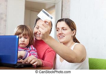 online, drei, familie, laptop, kaufen, generationen