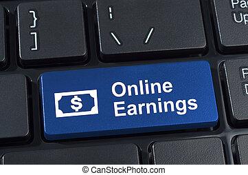 Online earnings computer keyboard button.