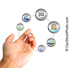 online ecommerce concept. Hand holding a icons cycle