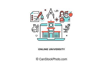 Online edu or e-learning school video animation logo