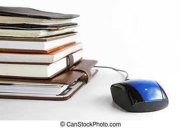 Online education and business concept - Stack of books and...