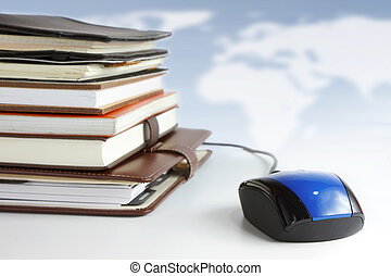 Online education and business concept. - Stack of books and...