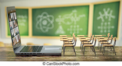 Online education and e-learning concept. Home quarantine distance learning. Laptop and school desks on blackdesk in classroom background.