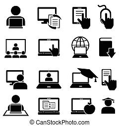 Online education and learning icons - Online education and...
