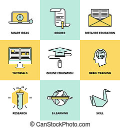 Online education and training flat icons set