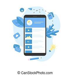 Online education app. E-learning concept.
