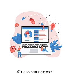 Online education app. E-learning concept