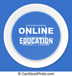 online education blue flat design modern web icon