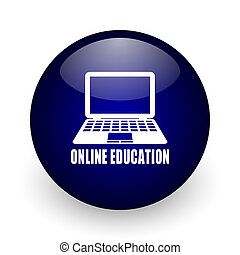 Online education blue glossy ball web icon on white background. Round 3d render button.