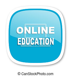online education blue glossy web icon