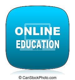 online education blue icon