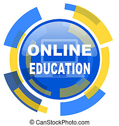 online education blue yellow glossy web icon